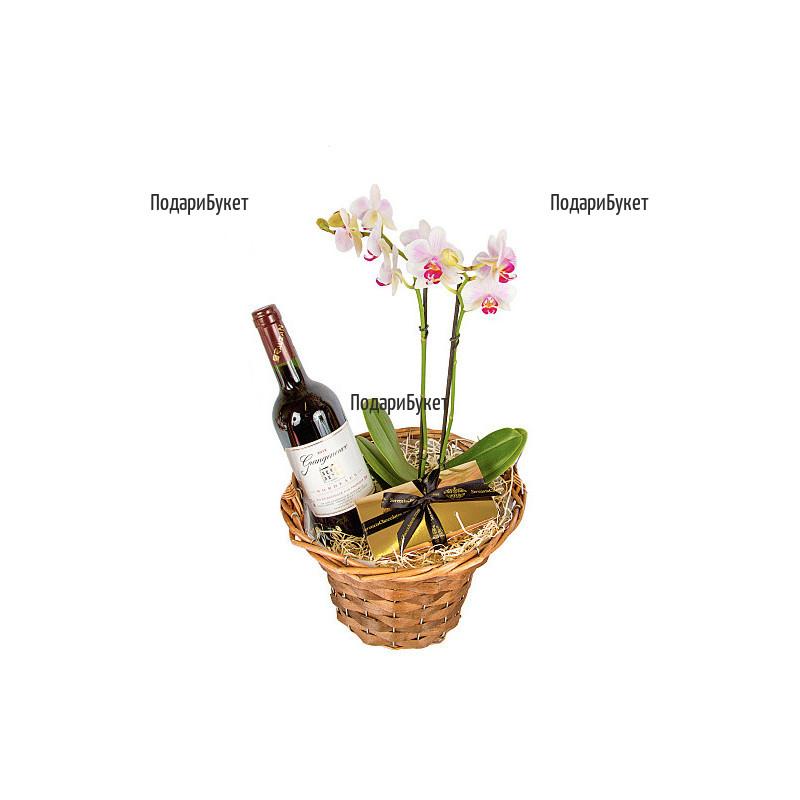 Доставка на кошница с Орхидея и червено вино в София, Пловдив. Варна