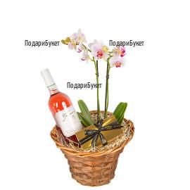 Онлайн поръчка и доставка на кошница с орхидея и подаръци в София