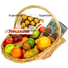 Luxury gift - a set  of fruits, chocolates and whiskey