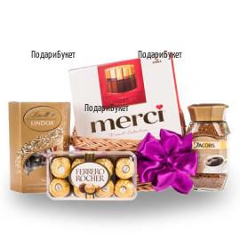 Поръчка и доставка на кошница с шоколадови бонбони в София