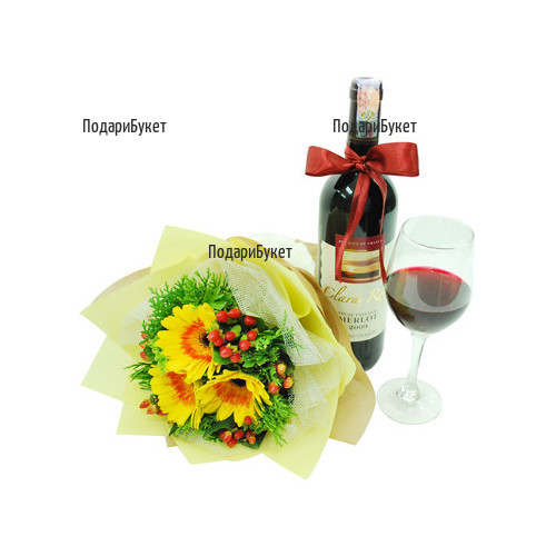 Order online a bouquet of gerberas and a bottle of wine with a ribbon