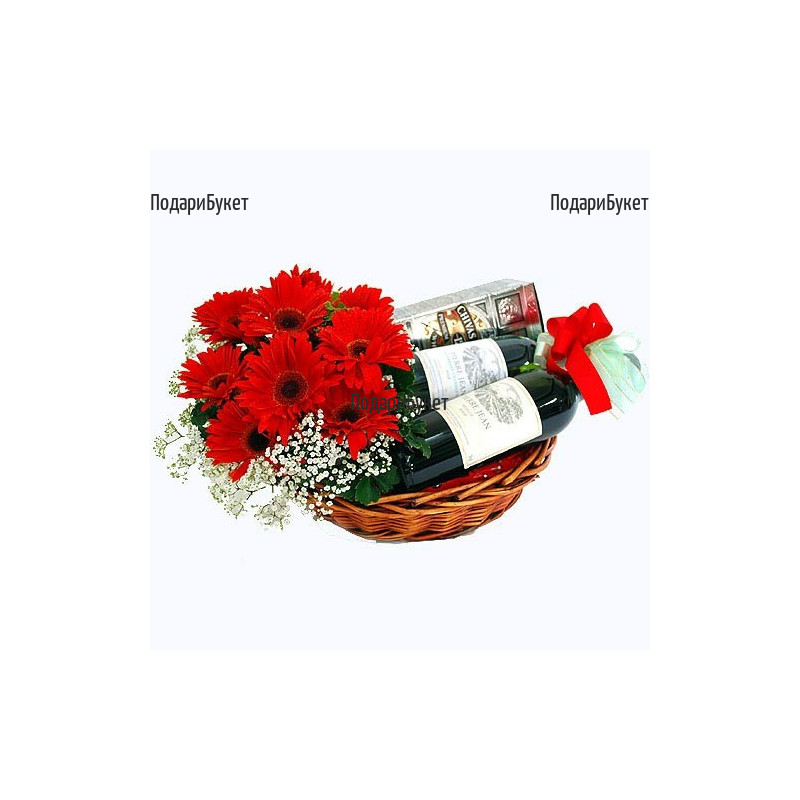 Send a gift for men - whiskey, wine and flowers in a basket