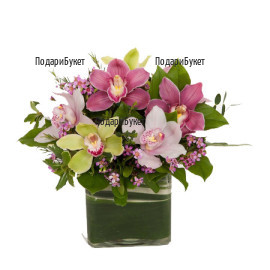 Online order for arrangement with orchids
