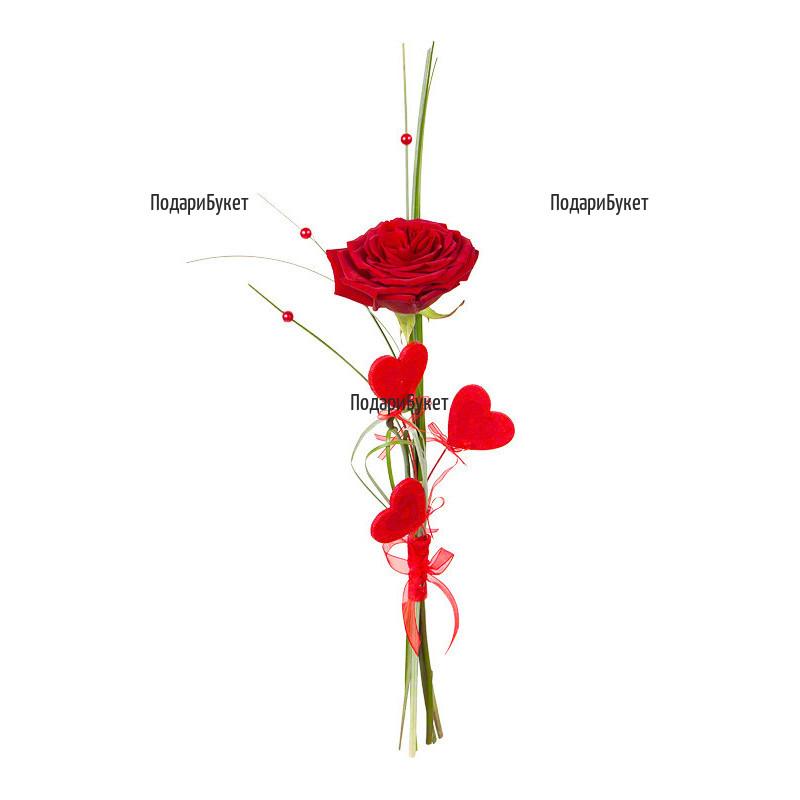 Send one red rose and ornamental hearts to Plovdiv, Varna, Burgas, Sofia