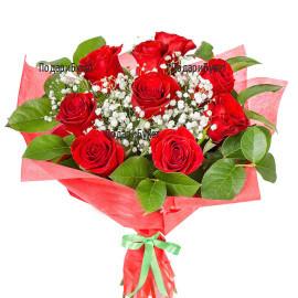 Доставка на романтичен букет от рози с куриер в София, Пловдив, Русе