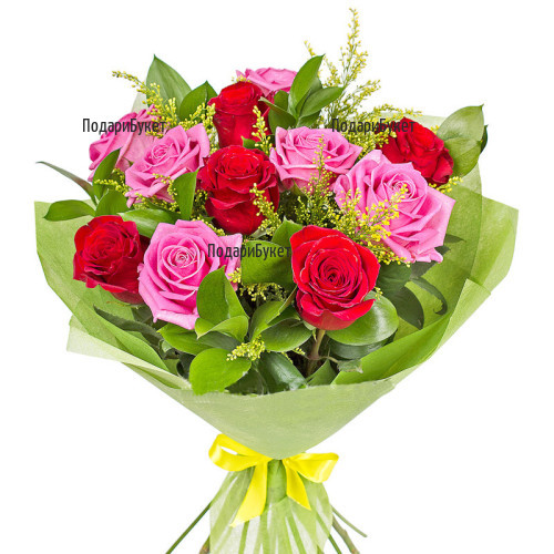 Send bouquet of roses and greenery