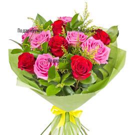 Онлайн поръчка на букет от рози и зеленина
