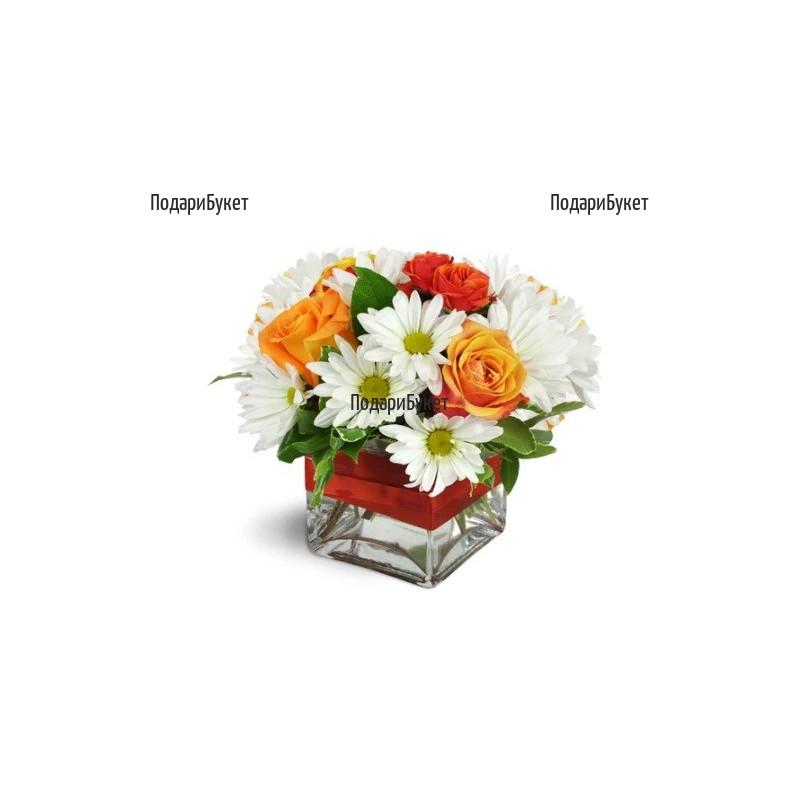 Доставка на аранжировка от рози и хризантеми в София, Пловдив, Варна