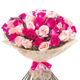 Поръчка и доставка на букет от розови рози в София, Варна, Бургас