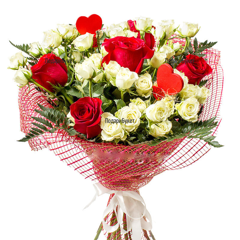 Send bouquet of red and white spray roses