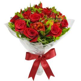 Доставка на букет от рози и алстромерии в София, Пловдив, Варна, Русе