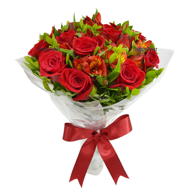 Send bouquet of roses and alstroemeria to Sofia, Plovdiv, Varna, Burgas
