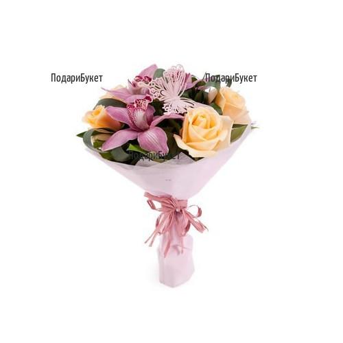 Доставка на екзотичен букет от рози и орхидеи в София, Русе, Хасково