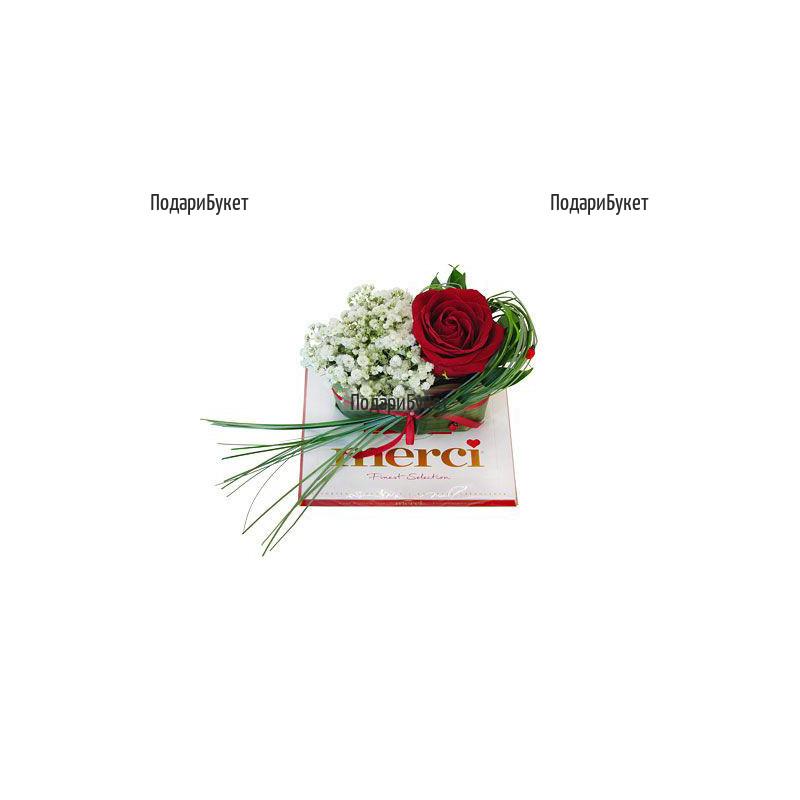 Доставка на аранжировка от роза и бонбони