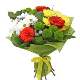 Доставка на букет от разнообразни цветя с куриер