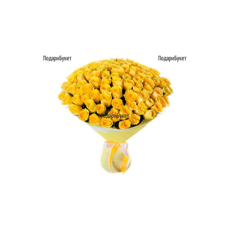 Доставка на букет от 101 жълти рози