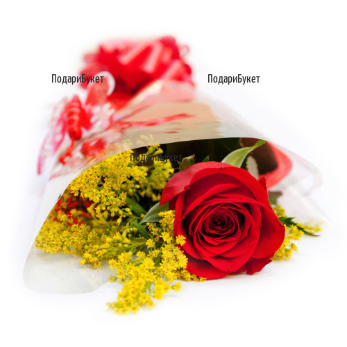 Send one rose with packaging