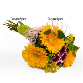 Send a bouquet of gerberas and greenery.