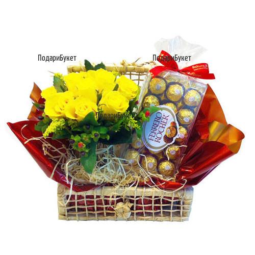 Доставка на кошница с рози и подаръци в София, Пловдив, Варна