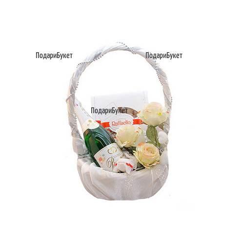Send tender white basket with roses and gifts to Sofia, Plovdiv, Ruse
