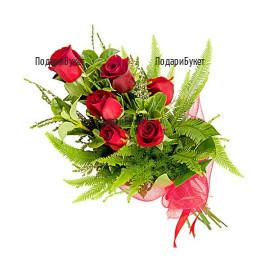Доставка на букет от 7 червени рози в София, Пловдив, Варна, Бургас