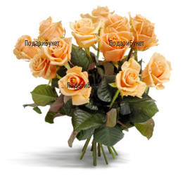 Send bouquet of orange roses and greenery