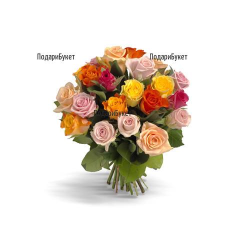 Доставка на разноцветни рози в София, Пловдив, Варна, Бургас