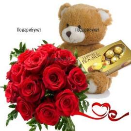 Поръчка на букет от рози, мече и бонбони
