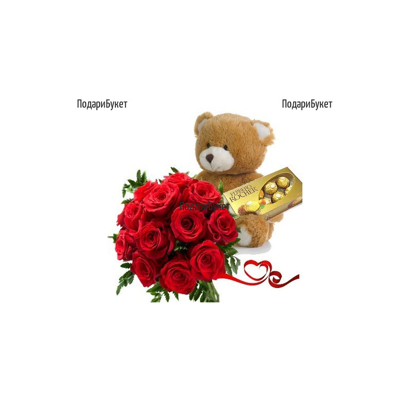 Order bouquet of roses, a Teddy Bear and chocolates.