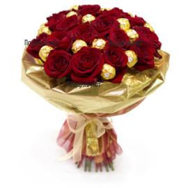 Доставка на букет от рози и бонбони