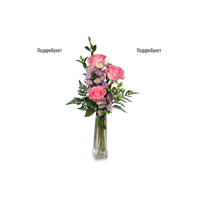 Доставка на цветя - букет от розови рози и зеленина