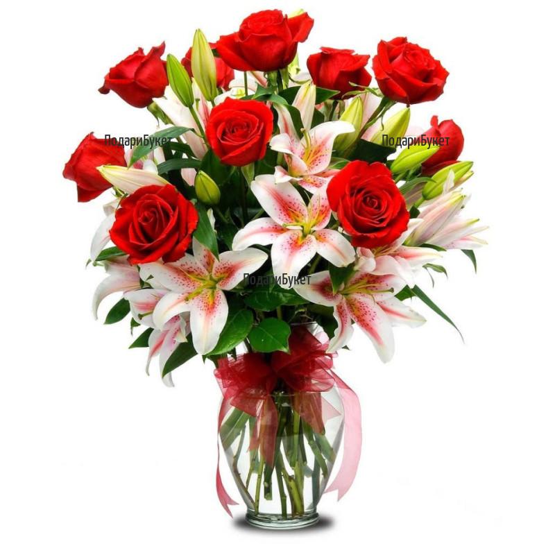 Доставка на букет от лилиуми и рози в София, Пловдив и цялата страна