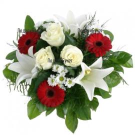 Доставка на красив букет от цветя и зеленина в Сoфия, Пловдив, Бургас