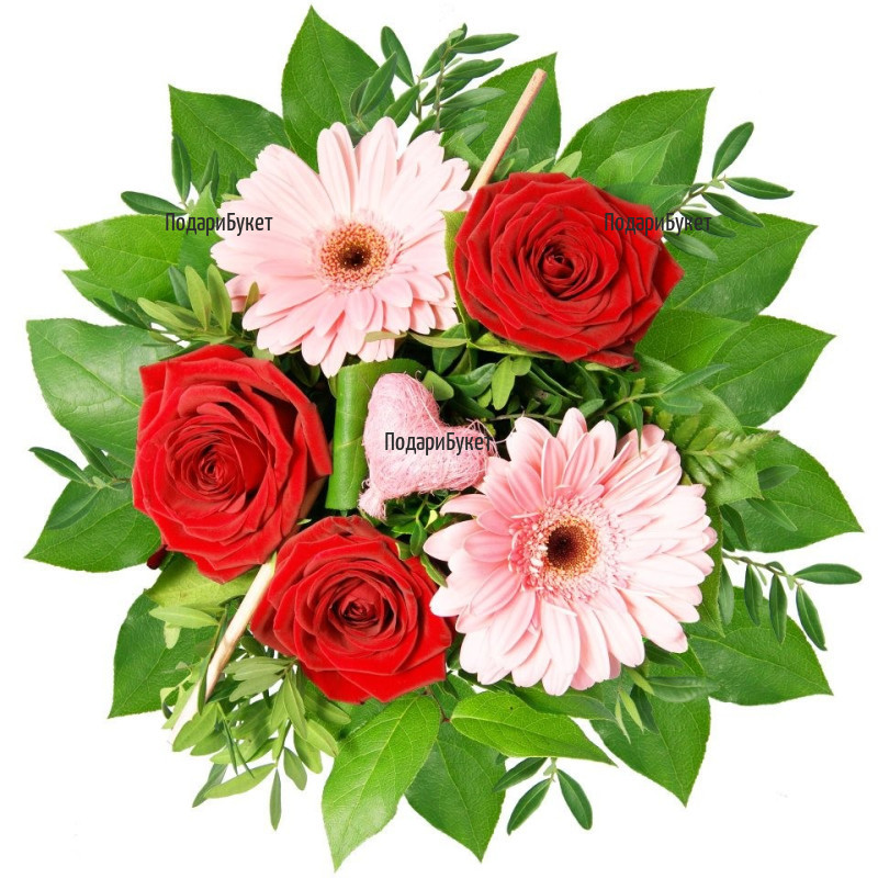 Send bouquet of gerberas, roses and plush heart.