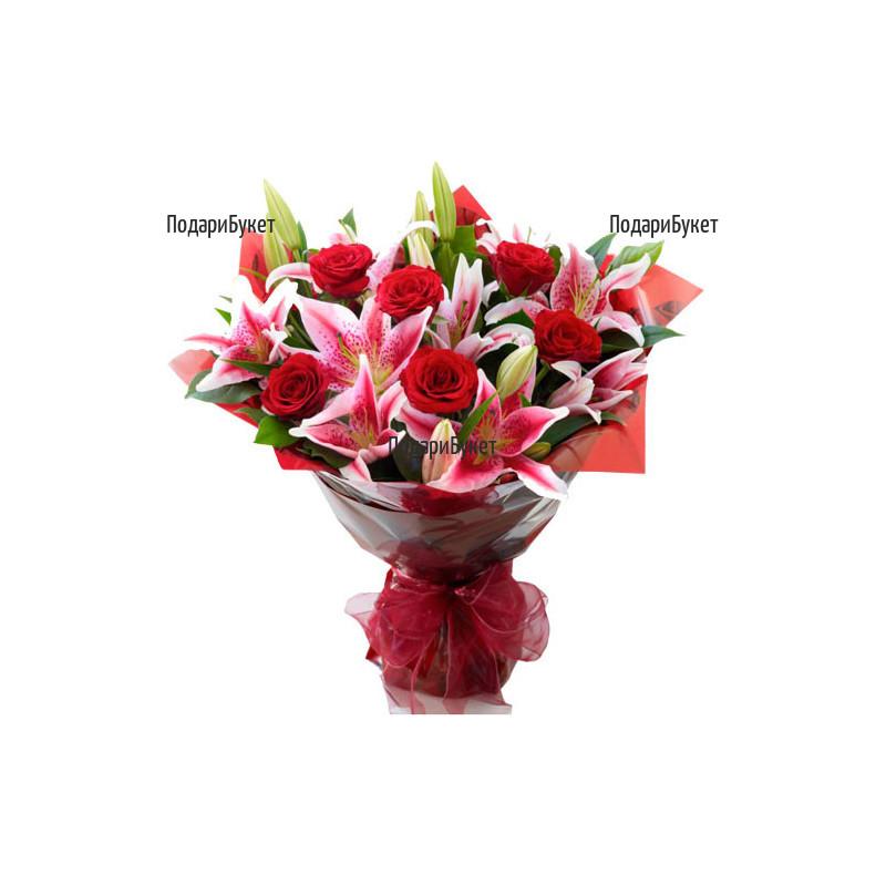 Поръчка на букет от лилиуми и рози