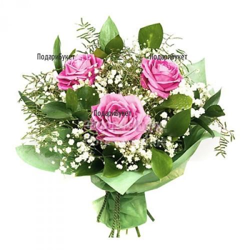 Доставка на розови рози букет в София, Пловдив, Варна, Бургас