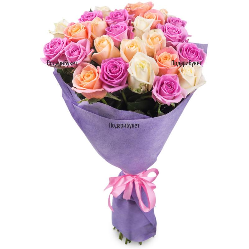 Доставка на букет от рози с куриер в Бургас, Русе, Хасково, Варна