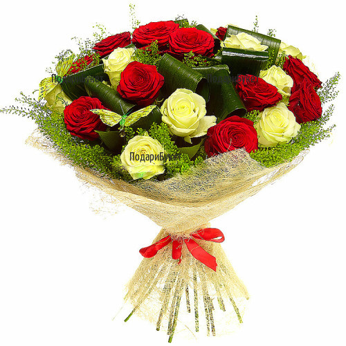 Delivery of bouquet of mixed roses and greenery