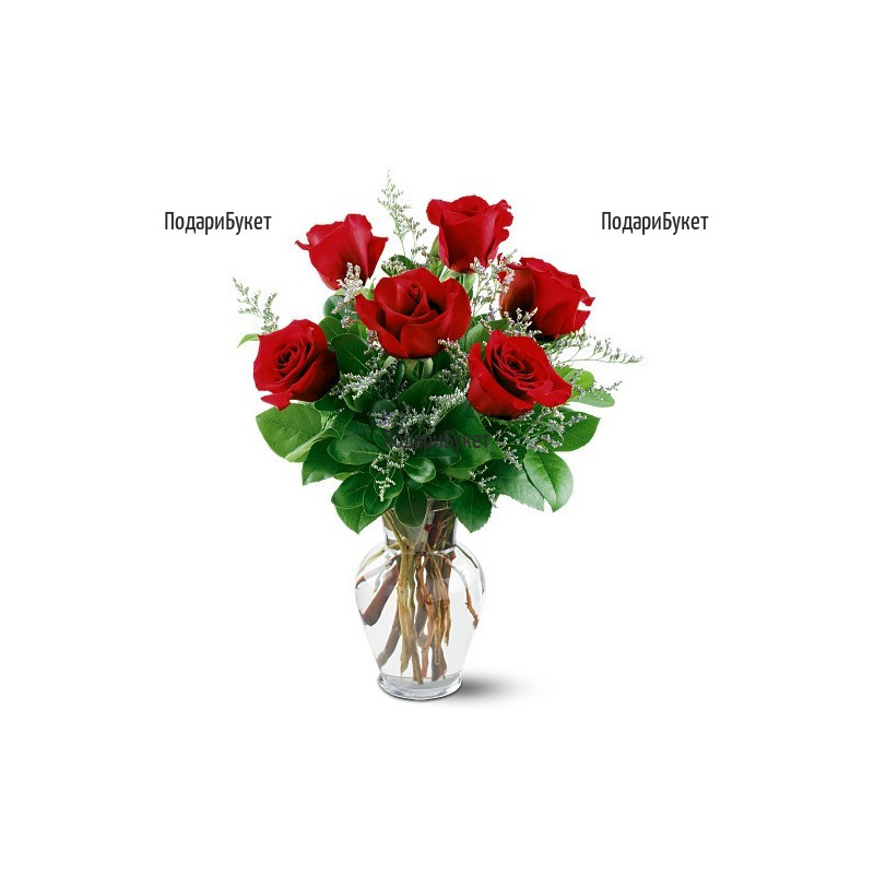 Delivery of bouquets of roses and a vase